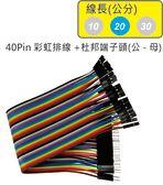 40Pin彩虹排線 + 雙頭杜邦端子 公頭 - 母頭( 線長20公分 )