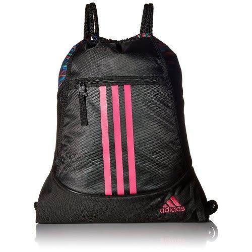 Adidas- 聯盟後背袋包(黑色/擊粉紅色)