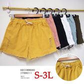 BOBO小中大尺碼【8812】鬆緊褲頭多色 褲管破破短褲 S-3L 共6色