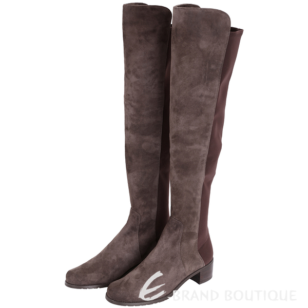 Stuart Weitzman RESERVE 麂皮拼接過膝長靴(咖啡色) 1530379-07