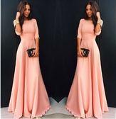 秋季洋裝歐美風女裝外貿新品粉色純色七分袖連身裙時尚禮服裙長裙【限時八五折】