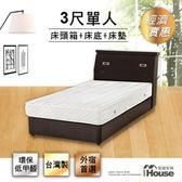 IHouse-經濟型房間三件組(床頭+床底+獨立筒)-單人3尺胡桃