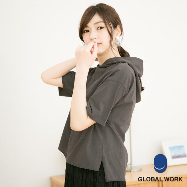 GLOBAL WORK女素色水洗連帽短袖T恤上衣-三色