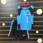 ☆棒棒糖童裝☆(1331藍)夏男大童背心式藍色撞色英文排汗衫套裝(上衣+褲子120-170 台灣製造
