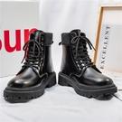 馬丁靴 中筒靴 馬丁靴男款高幫黑色英倫風潮流休閑皮鞋秋季新款潮男ins機車皮靴