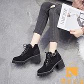 馬丁靴女鞋子英倫風靴子百搭高跟短靴粗跟單靴【慢客生活】