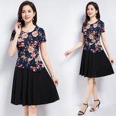 夏季中年媽媽時尚女裝雪紡短袖上衣 黑色裙子二件套連身連身裙女 東京衣秀