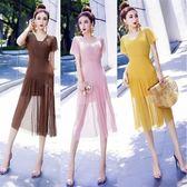 洋裝女裝時尚套裝百搭吊帶裙 網紗短袖連身裙女兩件套潮夏裝8690GT6F-606-B快時尚