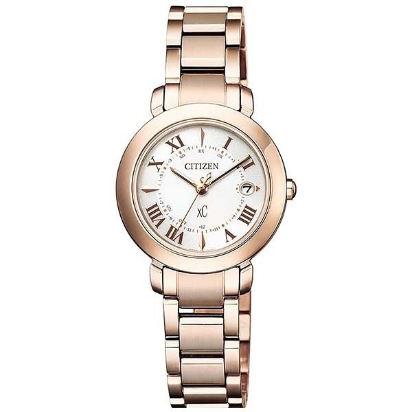 【台南 時代鐘錶 CITIZEN】星辰 xC 電波光動能 鈦金屬 典雅女腕錶 ES9444-50A 限量款 櫻花粉紅金 27mm