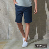 【JEEP】美式輕時尚素面休閒短褲 牛仔藍 (合身版)
