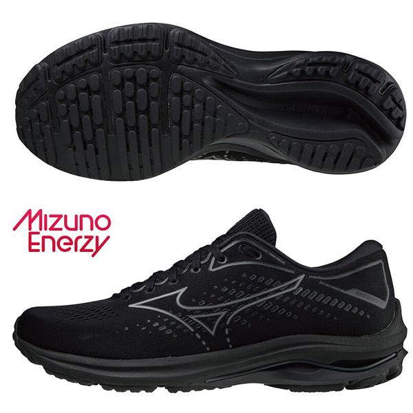 MIZUNO WAVE RIDER 25 女鞋 慢跑 ENERZY中底 避震 柔軟 黑【運動世界】J1GD210335