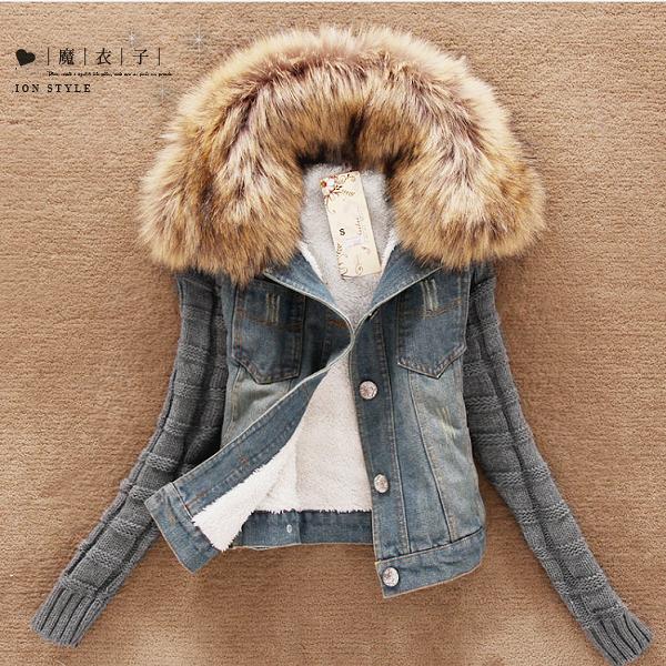 【QV3062】魔衣子-毛領拼接袖牛仔外套