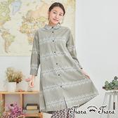 【Tiara Tiara】百貨同步 民俗風花樣純棉襯衫式洋裝(灰/黑) 店推 新品穿搭