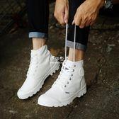 高筒男鞋帆布鞋板鞋休閒白色韓版潮流短靴帕拉沙漠馬丁靴『伊莎公主』
