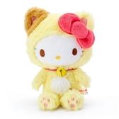 〔小禮堂〕Hello Kitty 貓裝沙包絨毛玩偶娃娃《黃白》沙包玩具.擺飾 4930972-49140