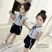 女童童女大童時髦套洋氣韓版兒童短袖短褲兩件套