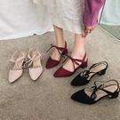 小清新高跟鞋粗跟羅馬綁帶包頭涼鞋女學生夏2020新款中跟百搭黑色 快速出貨