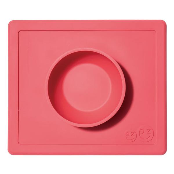 美國 EZPZ HAPPY BOWL快樂防滑餐碗/餐具/安全/無毒/矽膠 珊瑚紅