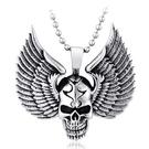 《QBOX 》FASHION 飾品【CBP8-138】精緻個性歐美龐克風翅膀骷顱頭鑄造鈦鋼墬子項鍊/掛飾