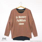 【INI】經典休閒、經典格紋真兩件寬版上衣.橙色