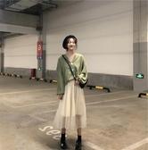 【免運】大碼裝女胖mm套裝新款寬鬆減齡遮肚襯衫正韓半身裙胖妹妹洋氣洋裝兩件套