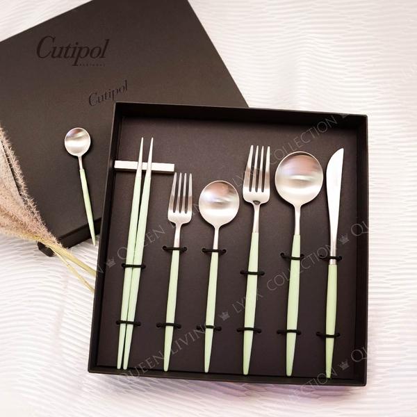 葡萄牙 Cutipol GOA系列個人餐具3件組-主餐刀+叉+匙 (青玉銀)