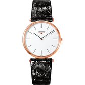 LONGINES 浪琴 La Grande 嘉嵐系列石英錶-白x玫塊金框/36mm L47551922