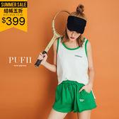 PUFII-套裝 字母滾邊撞色背心+鬆緊腰短褲兩件式套裝 2色-0621 現+預 夏【CP14836】