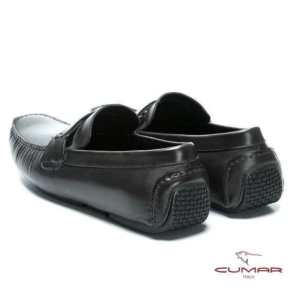 CUMAR 帥氣開車鞋 雅痞時尚牛皮帆船鞋-黑色