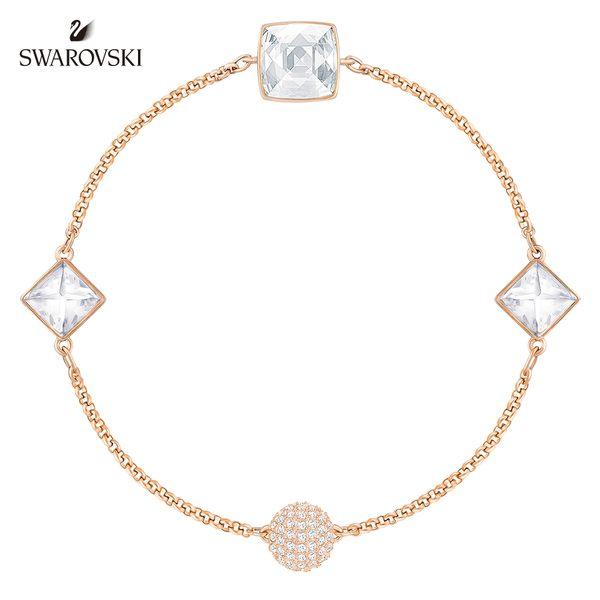 玫金色時尚白方形鑽手鏈