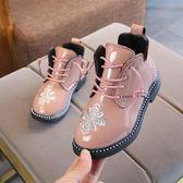 秋冬新女童公主靴子繡花羅馬低筒短靴棉靴中大童皮靴馬丁靴潮 糖果時尚