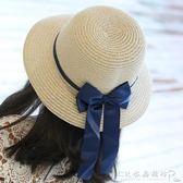 兒童草帽女童草帽大檐帽出游中小童沙灘帽子親子草帽蝴蝶結  水晶鞋坊