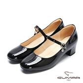 【CUMAR】復古典雅- 小方頭垂墜鑽飾粗跟瑪莉珍鞋(石曜黑)