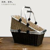 天然草藤編戶外野餐籃日式手編復古購物籃菜籃子大號手提籃收納筐