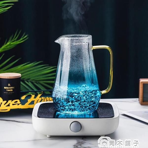 冷水壺涼水壺套裝家用玻璃涼水杯耐高溫防爆扎壺大容量北歐創意 青木鋪子