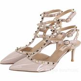 VALENTINO ROCKSTUD 鉚釘三繫帶漆皮高跟鞋(灰芋色) 1610236-E2