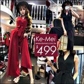 克妹Ke-Mei【ZT50716】美翻天 名媛時尚深V蝴蝶結綁帶激瘦大擺闊腿連身褲裙