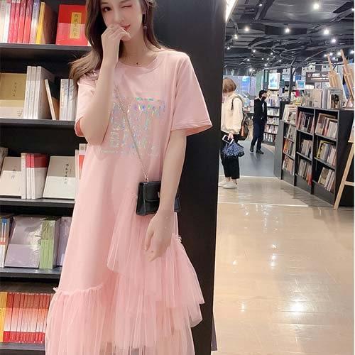洋裝 韓版網紗拼接蕾絲印花T恤連身長裙★東京戀人MS.Q★8603