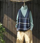 寬鬆花色條紋馬甲毛衣v領針織馬夾/設計家Y5573