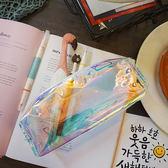 日韓原宿反光炫酷鐳射透明圓筒筆袋流蘇收納化妝包透明學生文具袋