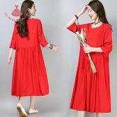 夏裝正韓藝術風純色棉麻中長款大碼寬鬆洋裝連身裙可孕婦裙 巴黎時尚生活