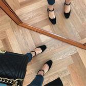 韓版ins中跟百搭方頭一字扣女鞋包頭涼鞋女粗跟高跟鞋 名購居家
