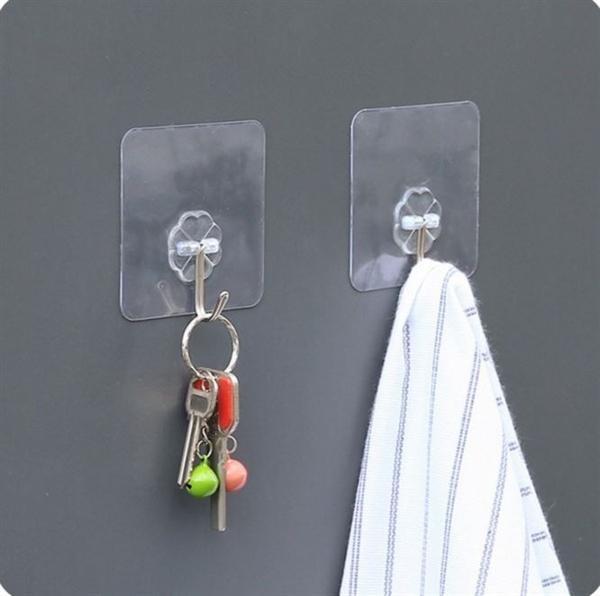 【透明花型掛鉤】神奇強力無痕掛鉤 透明黏膠活動式不銹鋼掛勾 免釘牆壁浴室