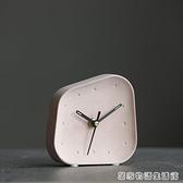 白色石材鐘北歐台鐘簡約時鐘書桌面擺件小座鐘