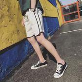 夏季薄款休閒短褲男士韓版潮流情侶褲運動五分褲寬鬆沙灘褲熱褲頭【全館滿一元八五折】