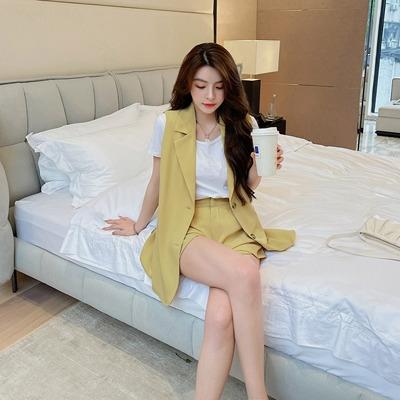 辦公室西服套裝S-XL995休閒西裝馬甲女英倫風時尚無袖西服兩件套T238A紅粉佳人