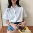 短袖襯衫 夏季新款隱藏扣子設計感大碼短袖襯衫女寬鬆學生polo襯衣 2021新款