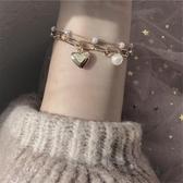 少女心超甜手鍊~可愛心形韓國氣質雙層珍珠鍊