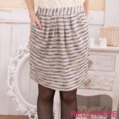 【RED HOUSE-蕾赫斯】條紋金蔥及膝裙(藍色)