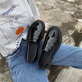 皮鞋女 INS黑色小皮鞋女英倫風2019夏季新款百搭平底單鞋樂福豆豆鞋【七夕節鉅惠】